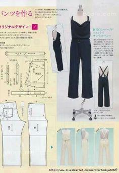 illustration showing the pattern for this jumpsuit. Sewing Pants, Sewing Clothes, Jumpsuit Pattern, Pants Pattern, Diy Clothing, Clothing Patterns, Fashion Books, Diy Fashion, Diy Pantalon