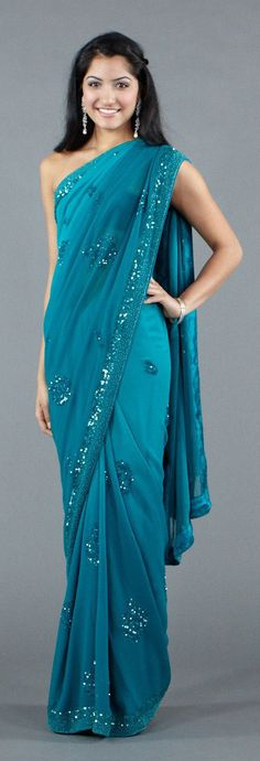 Tonal Turquoise Saree with Sequins and Beads