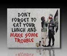 """Druck auf leinwand """"Banksy"""" Graffiti - Bild Make Trouble! Bild fertig auf Keilrahmen !Kunstdrucke, Wandbilder, Bilder zur Dekoration - """"Banksy"""" Street (30x40 cm)"""