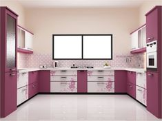 Charm Beautiful And Clean Kitchen Decor With Purple Color Design