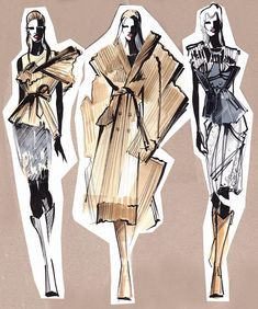 Fashion Illustration Speed Painting with Ink - Drawing On Demand Fashion Design Sketchbook, Fashion Design Portfolio, Fashion Design Drawings, Fashion Sketches, Fashion Design Illustrations, Drawing Fashion, Fashion Illustration Collage, Illustration Mode, Costume Design Sketch