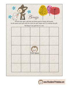 Free Printable Woodland Baby Shower Bingo Game