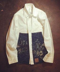 ダメージホワイトシャツ。 men's M . . . #rifatto #リファット #remake #リメイク #沖縄 #okinawa #ハンドメイド #handmade #襤褸 #ボロ #藍染 #indigo #デニム #denime #リペア #つぎはぎ #パッチワーク #古着 #fashion #vintage #japan #刺し子 #boro #キリム #NEWEND #刺繍 #ART #canoneoskissx7  #iPhone6