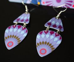 Guitar Pick Earrings Purple And Violet Handmade From Upcycled Gift Card