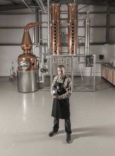 David Boyd-Armstrong, one of the founders of Shortcross Gin at Rademon Estate Distillery in front of the still. Home Distilling, Distilling Alcohol, How To Make Moonshine, Moonshine Still, Gin Foundry, Whiskey Still, Copper Pot Still, Brewery Design, Homemade Alcohol
