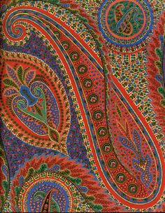 """Antique Persian Textiles / Paisley.  """"In Persian the design is known as Boteh Jegheh and it has been used in Iran since the Sassanid Dynasty (AD 224 to AD 651).    Some design scholars also call the distinctive shape Boteh and believe it is the convergence of a stylized floral spray and a cypress tree: a Zoroastrian symbol of life and eternity."""""""
