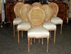 Stunning Chic Six French Louis XVI Gilt Cane Caned Dining Chairs