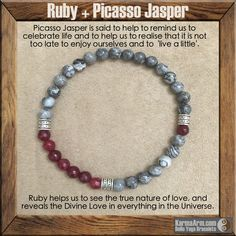 TRANSFORMATION: Ruby + Picasso Jasper Yoga Mala Bead Bracelet. Want!!!!