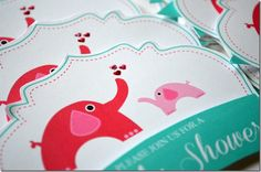 This is cute.. since it's a co-ed party would be nice to incorporate Dad though!  Elephant Baby Shower Invite