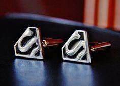 Superman Cuff Links  Diamond Super Man Cufflinks  by CleopatraNYC, $48.00