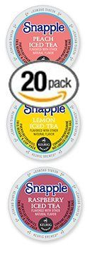 20-count Single Serve Cups for Keurig Compatible Brewers Flavored Snapple Variety Pack Featuring Lemon, Peach, and Raspberry Cups >>> Additional details found at the image link  : K Cups