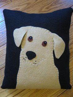 Primitive Folk Art Puppy Dog Pillow by Justplainfolk on Etsy, $18.00