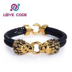 Custom personalized leather popular mens bracelets is made of stainless steel lion head and high polished and attractive. The lion head design is very good. This bracelet is strong and solid. The unique style symbolizes the man's courage and strength. It has affordable price and luxury appearance. As a high quality jewelry,custom personalized leather popular