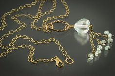 Blue Topaz Aquamarine & Antique Brass by HutaPearlJewelry on Etsy, $58.00