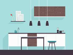 Creative Illustration, Graphic, Kitchen, and Design image ideas & inspiration on Designspiration Grey Kitchen Cabinets, Kitchen Cabinet Design, Kitchen Layout, Modern Farmhouse Kitchens, Farmhouse Kitchen Decor, Cool Kitchens, Creative Illustration, Flat Illustration, Layout Design