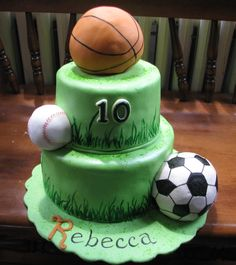 Sports Theme Birthday Cake - The client requested a cake for her granddaughter and all she could tell me was that her favorite color was green and she played basketball, softball and soccer. This was a blast to make and I ended up carving out areas of the cake for the balls to fit into for better effect. Red Velvet cake with chocolate cherry filling, covered in fondant. Balls are rice crispy treats covered in fondant.