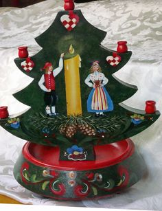 Swedish painted candle tree