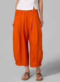 Linen Crumple Effect Harem Pants Orange