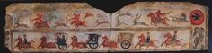Chinese lintel. med: 150x41x3 cm.  Chinese Culture. Han Era symbolic lintel with hunting scene and party of chariots and horsemen, alluding to the legend of Hou Yi and the Ten Suns.  In China, the Han realized from 202 BC to 220. It would be correct to say that contemporary empires of the Han and Romans were the greatest that existed at that time in the known world.  Stone sculpture began as majestic and decoration representative paths imperial tombs burial. Great real animals