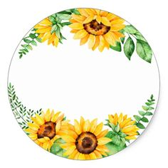 Shop Vintage Watercolor Sunflower Wreath Classic Round Sticker created by hungaricanprincess. Sunflower Drawing, Watercolor Sunflower, Sunflower Party, Sunflower Wreaths, Birthday Frames, Birthday Cards, Wreath Drawing, Mirror Painting, Floral Border