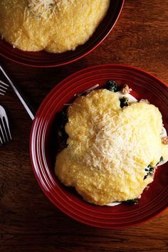 Polenta hiding mozzarella and lemony greens