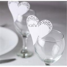 Place Card On Glass Laser Cut Heart 10 Pack | Hobbycraft #weddingtable #namecard #placecard
