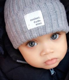 Coolest dude ever knit baby & toddler hat Baby Kind, Pretty Baby, Baby Boy Hats, Baby Boy Outfits, Beautiful Children, Beautiful Babies, Beautiful Eyes, Little Babies, Cute Babies