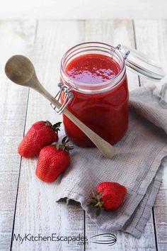Homemade Strawberry Freezer Jam - No Cook - My Kitchen Escapades