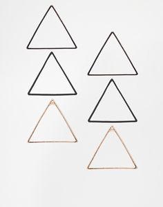 illuminati earrings! ASOS Open Triangle Earrings Multipack
