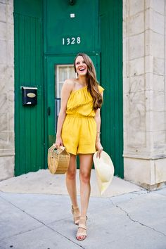 Summer outfits: The cutest yellow romper, beach hat, and Cult Gaia's Ark bag! | The Golden Girl Blog