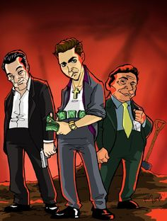Goodfellas - Amusing caricature of Jimmy, Henry and Tommy burying Billy Batts by MikeTheWolf at DeviantArt #GangsterMovie #GangsterFlick
