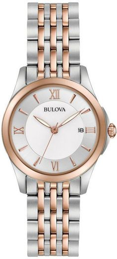 Zales Ladies' Bulova Classic Two-Tone Watch with Mother-of-Pearl Dial (Model: 98M125)