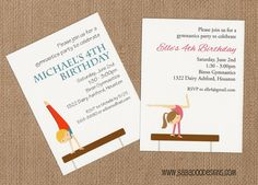 GYMNASTICS invitation boy and girl options  by BabadooStationery, $14.00  www.BabadooDesigns.com