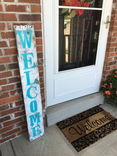 ★PRODUCT DESCRIPTION★ This is a FULL 4 FOOT TALL (48 tall by 7.5 wide x 3/4 thick) handcrafted rustic front porch REAL WOOD welcome sign. Welcome sign can be vertical or horizontal. These rustic front porch welcome signs will be a great addition to any front porch, entryway, or interior. Wood is fully sealed with two coats of our special mix stain sealer to make the wood look weathered and help protect wood. The welcome font and background color is painted with a hard acrylic outdoor paint…