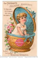 Tarrant's Seltzer Aperient Victorian Trade Card Baby Girl in Basket Medical VTC