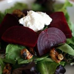 Salad with Goat Cheese Beet Salad with Goat Cheese is on the menu for this week, using fresh beets from Kristi s garden!Beet Salad with Goat Cheese is on the menu for this week, using fresh beets from Kristi s garden! Beet And Goat Cheese, Goat Cheese Recipes, Goat Cheese Salad, Cheese Food, Cheese Plates, Antipasto, Beetroot And Feta Salad, Fresh Beets, Main Dish Salads