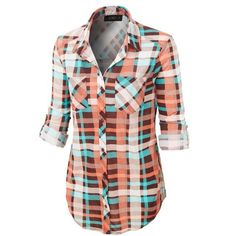(pre-order) Turquoise Plaid Button Down Shirt (2.170 RUB) via Polyvore featuring tops, tartan shirt, plaid button up shirts, tartan top, turquoise shirt и plaid shirts