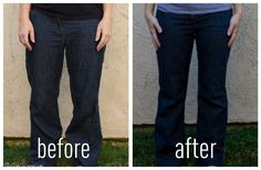 easy diy tailored pants for when your losing weight-I need to do this on most of my pants! Yay! Post baby weight keep on gitting!
