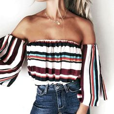 dc49162d37 ... shoulder off blouse Suppliers  Sexy Stripe Off Shoulder Blouse Women  blusas Three Quarter Shirt Top blusas feminina 2017 Elegant Printing Women  Tops