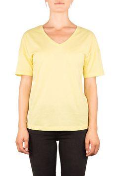 LOOSE | BIO-BAUMWOLLE T-SHIRT - Funktion Schnitt  - #organiccotton #tshirt #shirt #womensstyle #womenswear #fashion #womensfshion #look #funktionschnitt #casual #basic #vneck #yellow