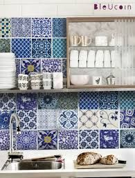 Kitchen/Bathroom Indian Blue pottery tile decals : 22 by Bleucoin Wonderful 'tiles' to change the look of a room. Tile Decals, Wall Tiles, Tiles Uk, Room Tiles, Blue Tiles, White Tiles, Mosaic Tiles, New Kitchen, Kitchen Decor