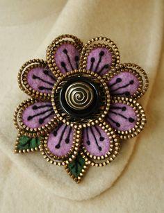 Felt and zipper flower brooch