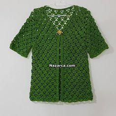 TIĞLA YEŞİL BAHARLIK BAYAN YELEK TARİFİ | Nazarca.com Crochet Cardigan Pattern, Crochet Jacket, Crochet Top, Crochet Designs, Knitting, Coat, Sweaters, Jackets, Clothes