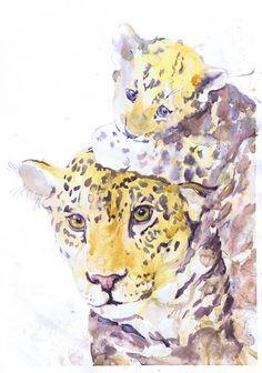 Jaguar - Panther- Leopard - mother and baby- watercolor - painting - illustration - baby jaguar - nursery - art print - safari  wildcats (18.00 USD) by ValrArt