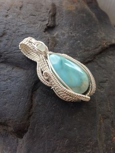 Wire Wrapped Pendant Larimar Jewelry Wire Wrap by SweetWaterSilver