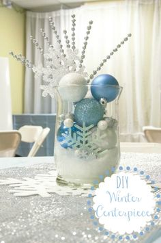 Diy Winter Centerpiece Change Out the Blue for Red and Green and It : Winter Decor Ideas Office Holiday Party, Office Christmas, Silver Christmas, Disney Christmas, 12 Days Of Christmas, Christmas Holidays, Frozen Christmas, Santa Christmas, Winter Centerpieces