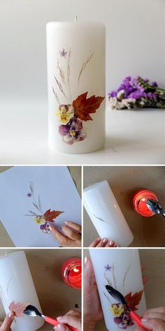 DIY Candles With Pressed Flowers