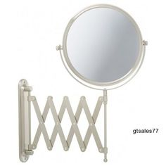 Wall Mount Makeup Vanity Two Sided Mirror Nickel Finish Magnification Bathroom