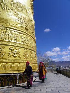 World's largest Buddhist Prayer Wheel. Shangri-la, Yunnan, China