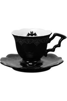 Nu Goth, Tea Cup Saucer, Tea Cups, Sabbat, Goth Home Decor, After Midnight, Horror, Cupping Set, Ceramic Cups